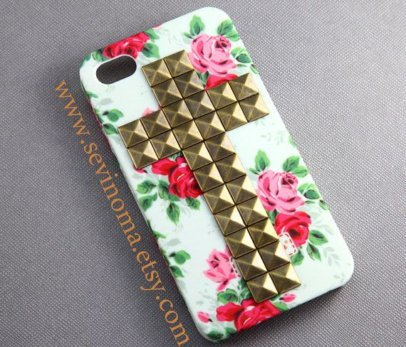 Vintage White Pink Rose Flower Cross antique brass Studded iPhone 4/4S case $12.99