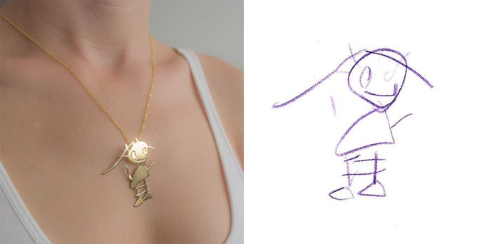 Hat Ihr Kind eine schöne Zeichnung gemacht! Diese können Sie jetzt zu einem herrlichen Schmuck nach Maß verzaubern lassen! - DIY Bastelideen