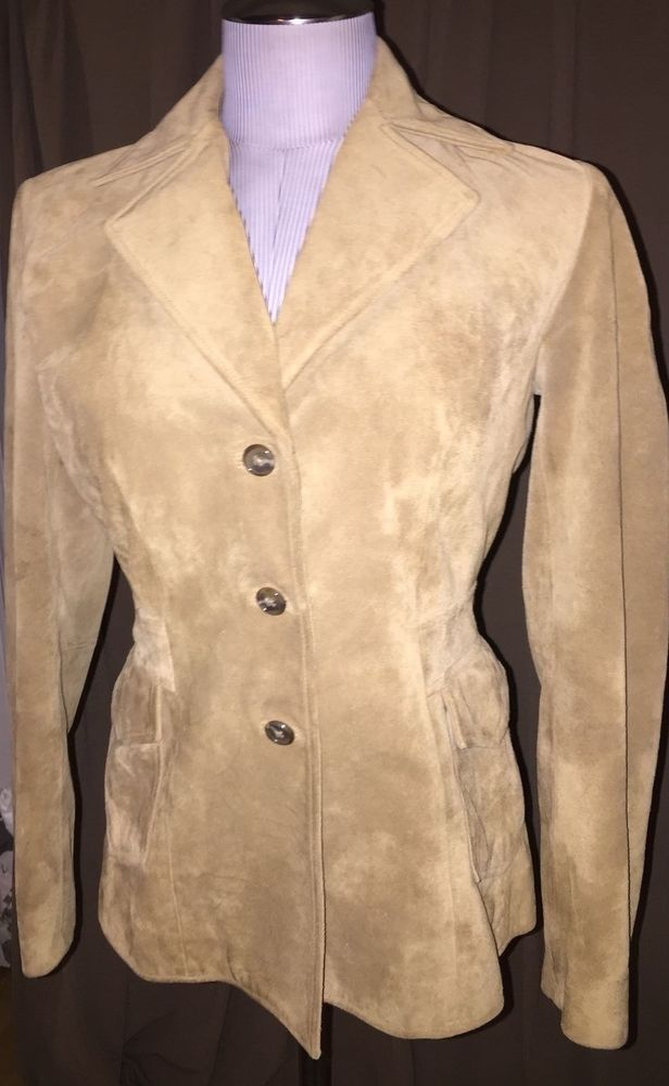 Banana Republic light khaki suede leather classic blazer coat jacket S #BananaRepublic #blazercut #versatileHOLIDAY