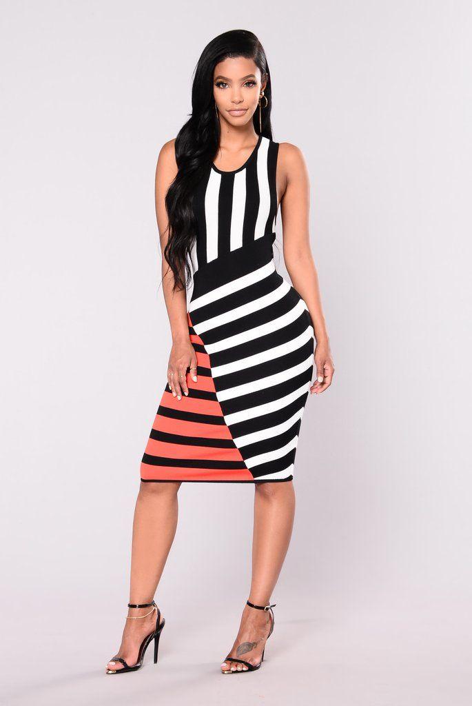 Cruella Striped Dress - Black Multi