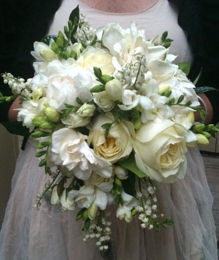 Our nod to the 'Royal Bouquet'. Bridal bouquet of lily of the valley, gardenia, garden style roses, and freesia.    Bouquet by Amy Potter   Country Way Floral & Event Design Studio