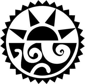 Aztec Tribal Sun And Sea Tattoo Sample | Tattooshunt.                                                                                                                                                                                 Plus