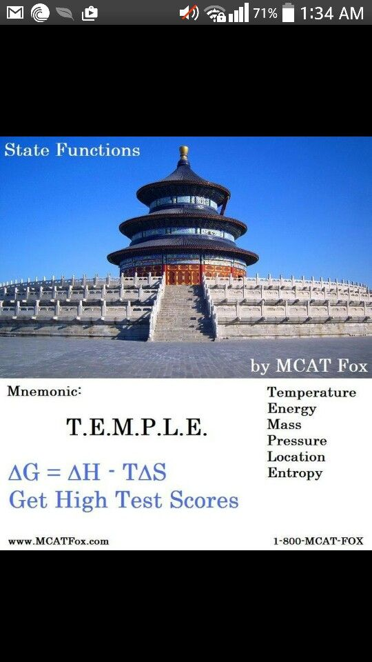Mnemonic state functions chemistry thermodynamics