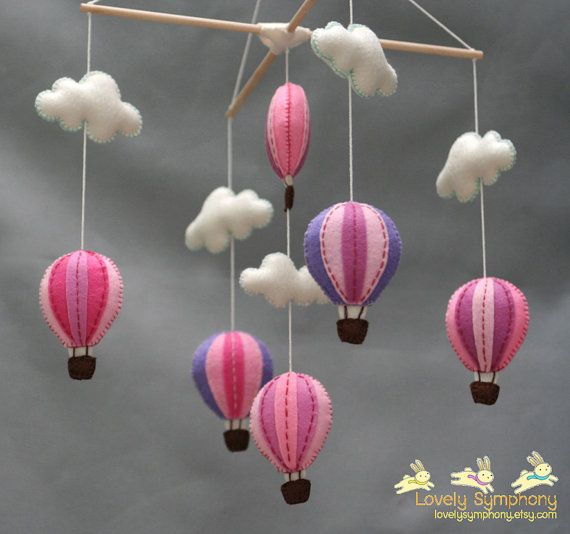 Berry hot air balloons baby mobile  Sweet hot by LovelySymphony, $70.00