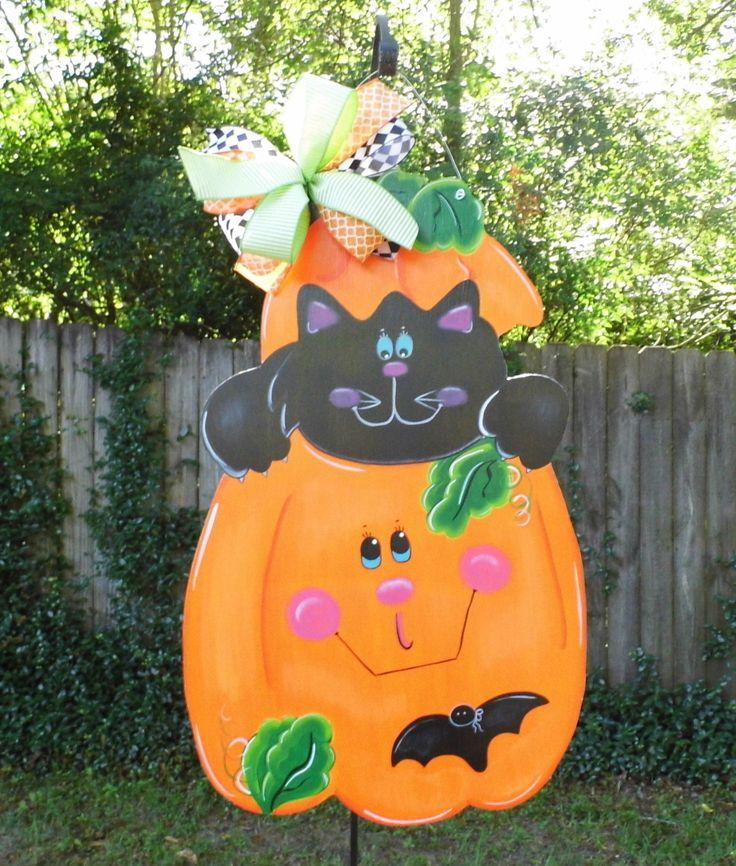 Pumpkin Door Hanger, Halloween Door Hanger, Black Cat Door Hanger, Pumpkin With Cat, Fall Leaves by HolidaysAreSpecial on Etsy