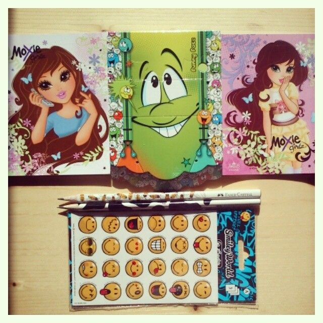 notebooks, stickers, pencils