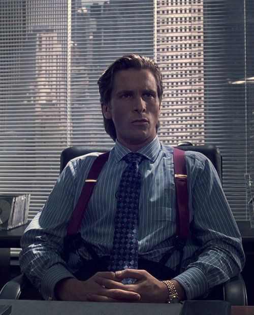 Christian Bale as Patrick Bateman in Mary Harron's 2000 film, American Psycho.