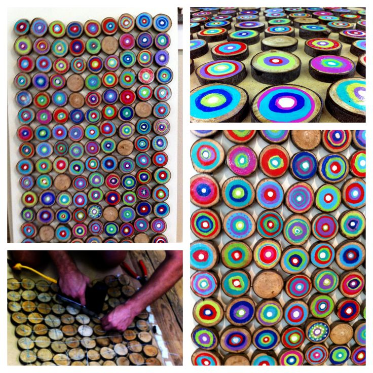 Finished 3rd Grade auction art 135 painted wood slices, wired together from the back.