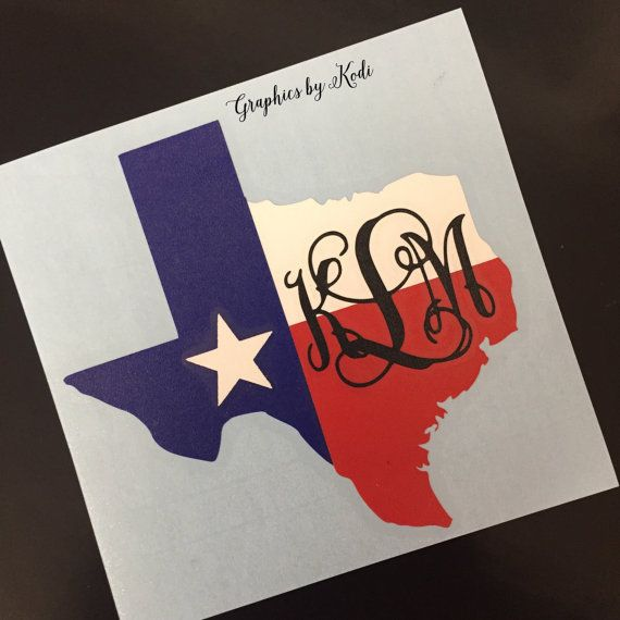 Texas State Monogram Decal - Monogrammed Decal - Texas - Sticker