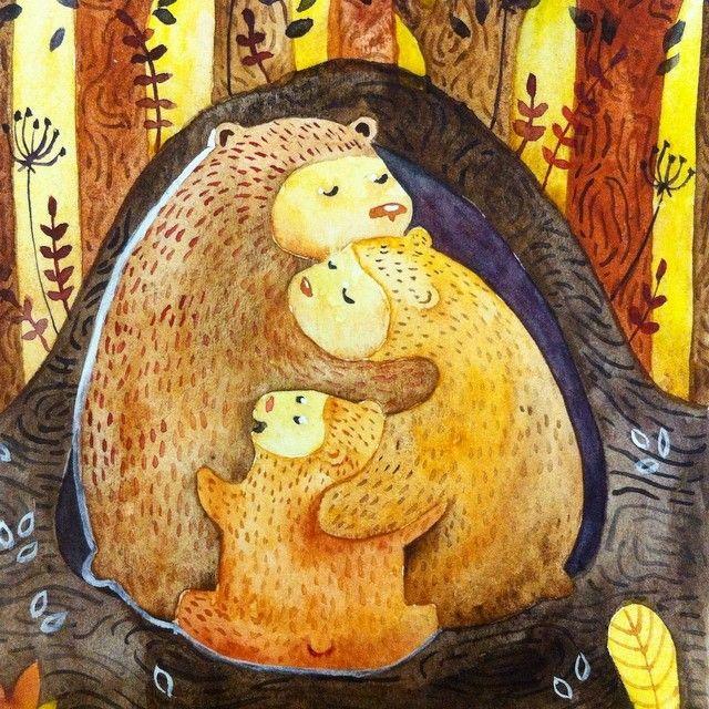 Мишки) еще иллюстрация для конкурса, но так как мой сканер сейчас в 500 км от меня пока не могу ничего с ней сделать, только сфотографировать на телефон...art #watercolor #акварель #aquarelle #иллюстрация #illustration #bear #медведь #лес #forest #family #love #семья