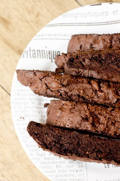 Espresso Salted Dark Chocolate Biscotti -extra crunchy, perfect for coffee dunking!