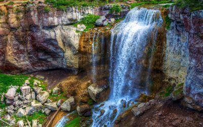 壁紙をダウンロードする paulinaの滝, ストリーム, 美しい自然, 石, 滝, 米国, オレゴン州