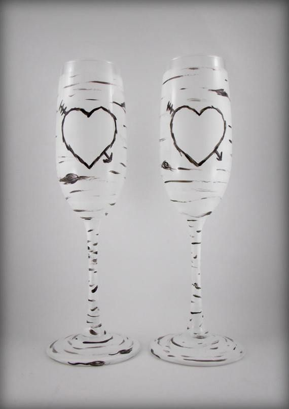 Wedding toasting glasses, Birch Tree Mr. & Mrs. Champagne Flutes. These beautiful champagne flutes stand just over 9 inches tall and hold 8 ounces. They have been hand painted with non-toxic, heat set, glass paint. --> TO ORDER: Add this listing to your cart, and in the NOTES TO SELLER field at checkout, let me know what youd like written in the hearts. ie: I would like Stan and Julie in the hearts, I would like Bride and Groom in the hearts.  MADE TO ORDER, Please allow 2-3 days befor...
