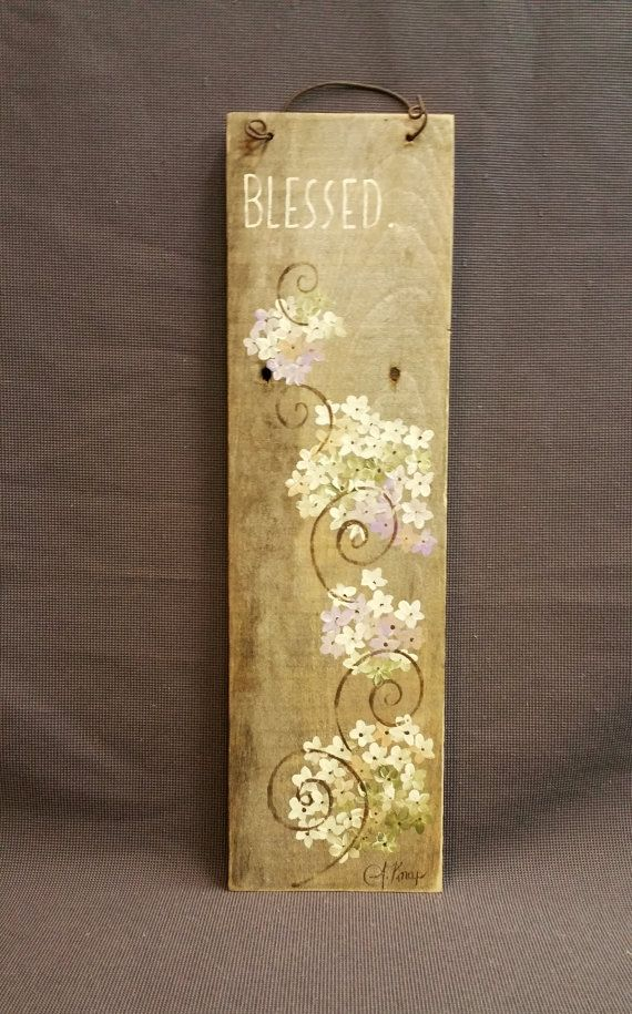 GIFTS UNDER 25, Thanksgiving Reclaimed Wood Pallet Art, Blessed, Hand painted hydrangeas, upcycled shabby chic
