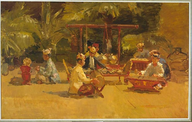 Isaac Lazarus Israëls (Dutch, 1865 - 1934)  The gamelan orchestra  1915 oil on canvas