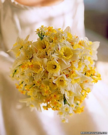 daffodil bouquet...reminds me of spring at home when the daffodils would bloom all down the side of the hill and I would go all over the place picking the perfect ones for my mom and grandma :)