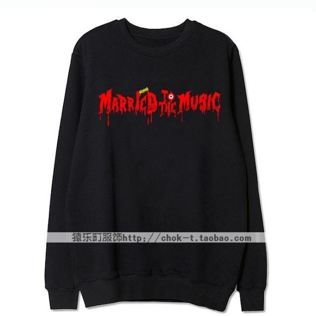 Kpop shinee album married to the music printing thin hoodie for men women fashion bleeding letters o neck sweatshirt