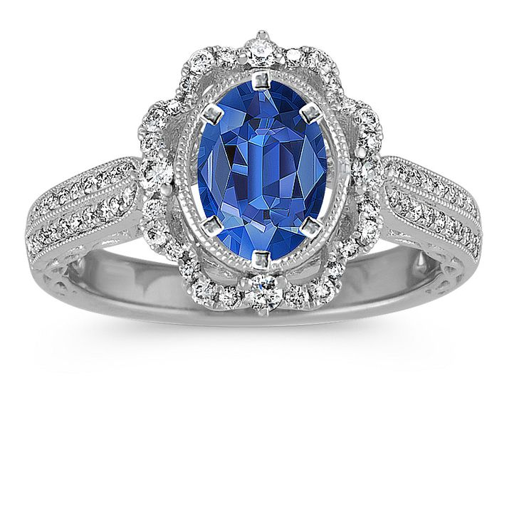 Pave-Set Diamond Vintage Engagement Ring
