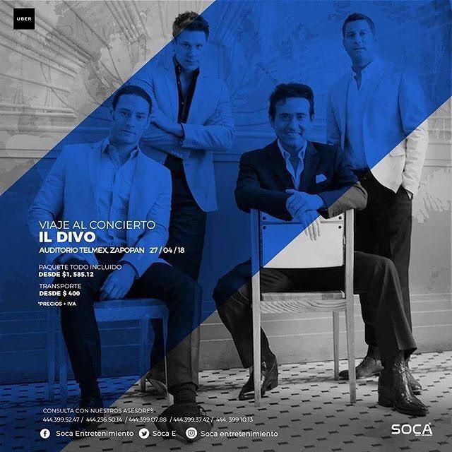 Mexico travel to @ildivo! Repost @socaentretenimiento Enamórate con la música de Il Divo !  Viaje al concierto de Il Divo próximo 27 de abril en el Auditorio TELMEX. Quién se apunta?  #SocaEntretenimiento #Soca #SanLuisPotosi #SLP #Querétaro #Qro.#Aguascalientes #Ags. #IlDivo