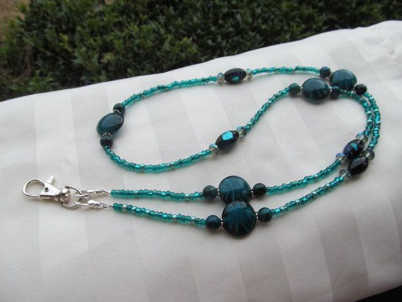 Teal Blue Beaded Lanyard Necklace ID Badge by TheLanyardNecklace, $23.00