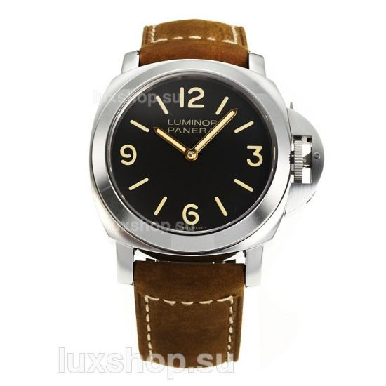 Panerai Luminor Marina Manual Winding Black Dial with Brown Leather Strap Same Chassis as the Swiss Version - Click Image to Close