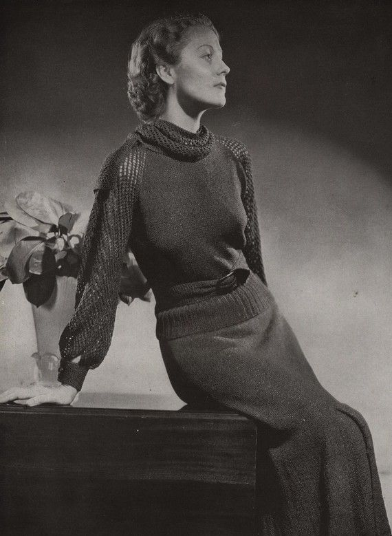 PDF of Minerva's Plaza Two Piece Dress Vintage Knitting Pattern, c. 1934