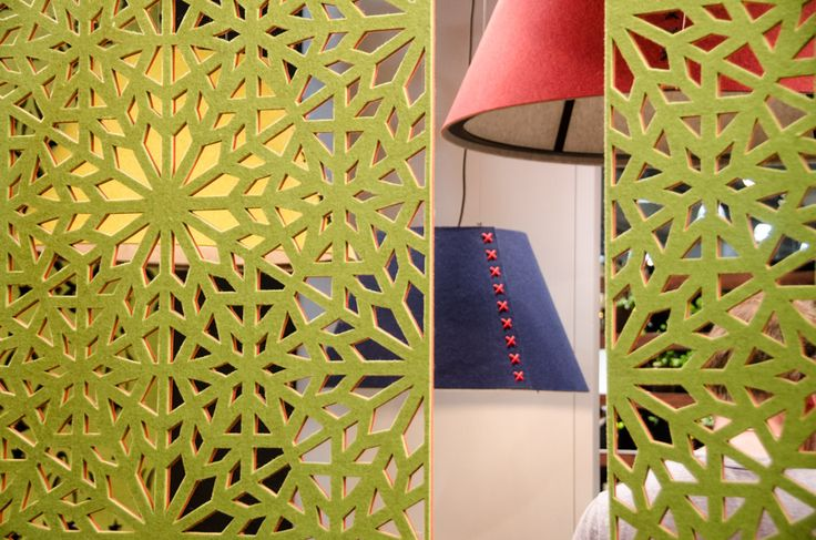 BuzziSpace  Open offices and coworking spaces are commonplace these days. A chronic complaint among workers remains unmanaged ambient noise that is distracting and disruptive. A culprit is vast hard surfaces that bounce sound around. Belgian-based BuzziSpace featured a number of soft wall panel, suspended screen, and lighting products all aimed at absorbing stray decibels with style.
