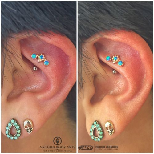 Rook piercing by Cody Vaughn of Vaughn body arts. Jewelry by Anatometal.