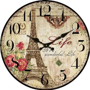 """Amazon.com: 13"""" Stupell Home Decor Collection The Eiffel Tower Vintage Wall Clock Cafe Dela Hotel Paris Country Primitive: Home & Kitchen"""