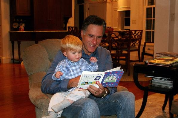 Mitt reading to Johnny, our grandson.