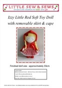 Image of PDF Sewing Pattern Izzy Little Red Riding Hood Soft Toy Doll - photo tutorial - e-file