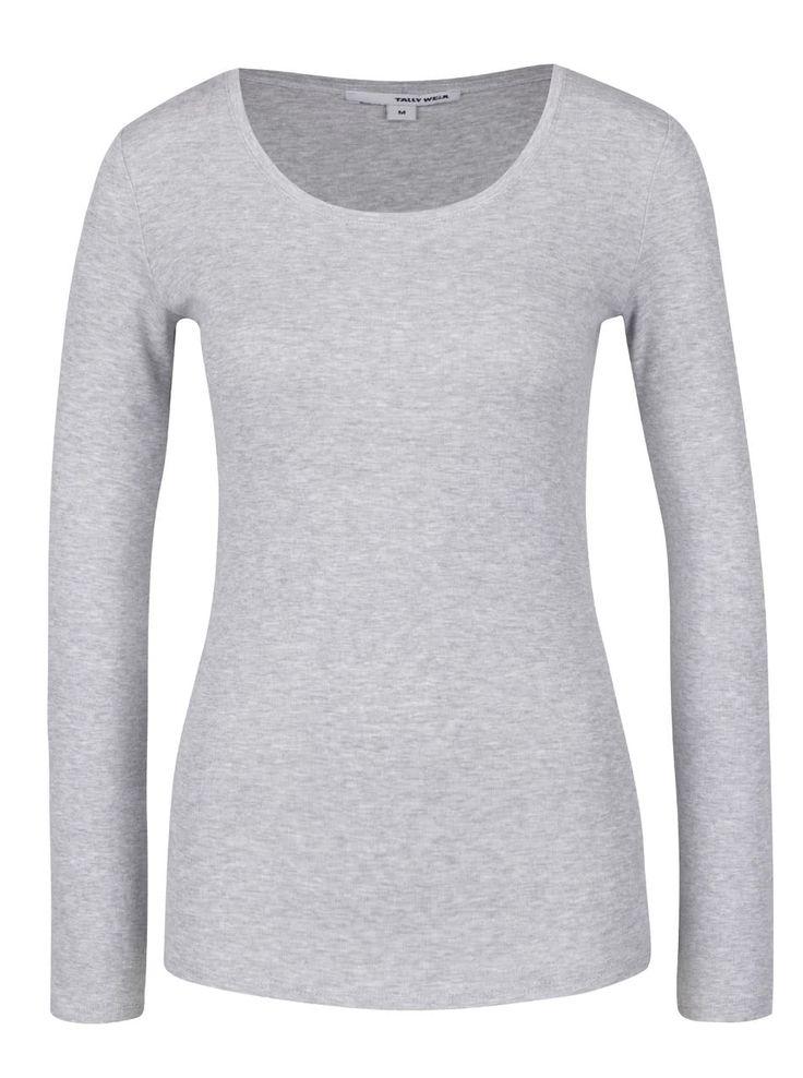 Sivé melírované tričko s dlhým rukávom a okrúhlym výstrihom TALLY WEiJL