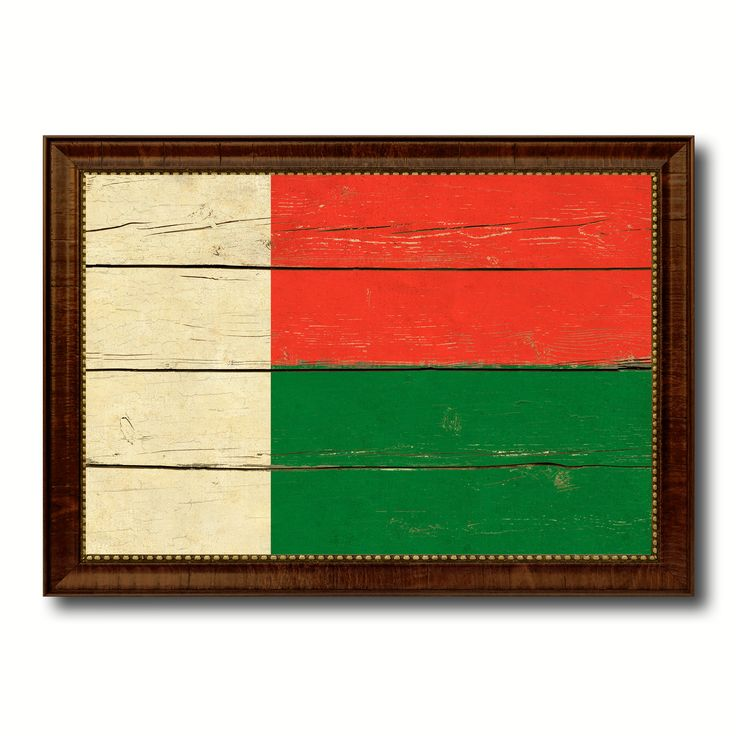 Madagascar Country Flag Vintage Canvas Print with Brown Picture Frame Home Decor Gifts Wall Art Decoration Artwork