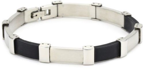 Men's Stainless Steel and Black Rubber Bracelet Amazon Curated Collection. $11.99. Made in China. Save 52% Off!