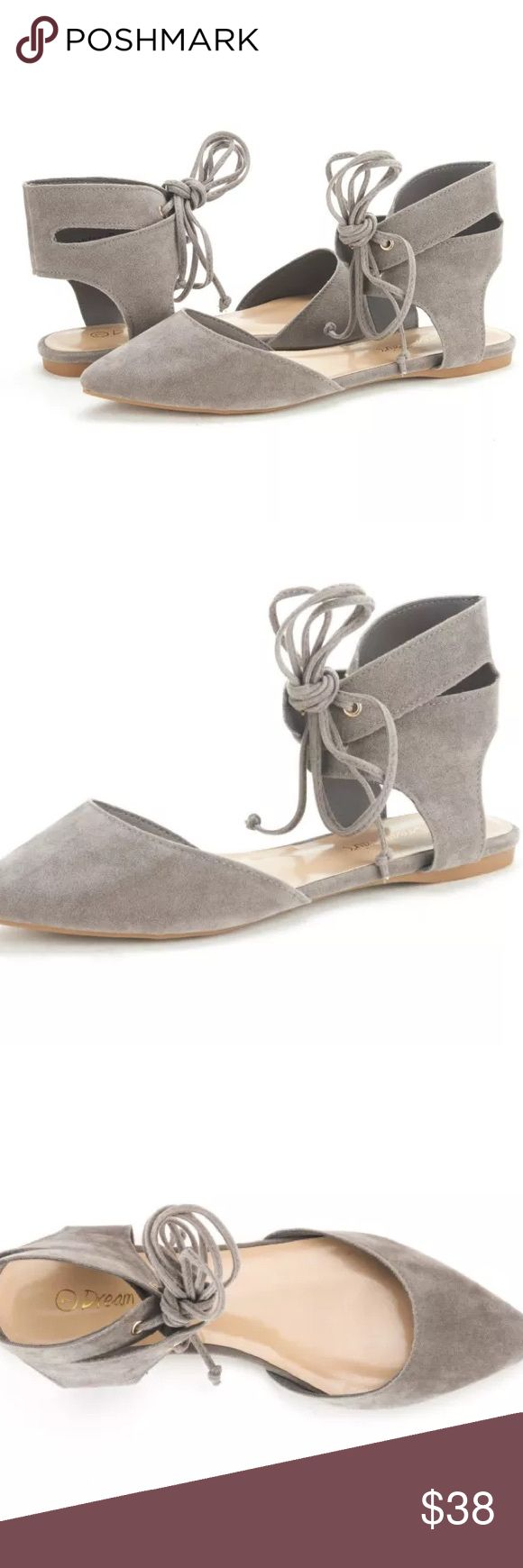 "Lace up gladiator flats Lace up gladiator flats. New w/box. All sizes. Color: taupe.                                                              Man Made Material Soft Lining For Best Comfort Heel height: 0.15"" (approx) TPR rubber sole Cushioned Foot-Bed Gladiator Lace up Design Shoes Flats & Loafers"