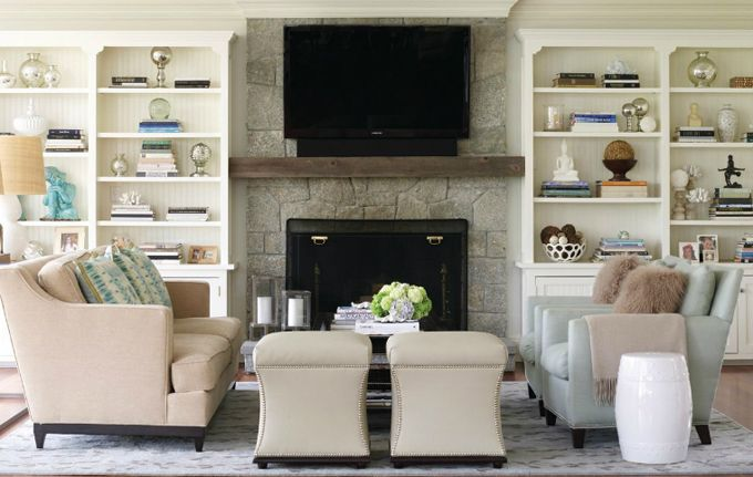 """I'm wondering about one day creating our own """"false mantle"""" with shelves on the side and the TV in the middle/bottom with decorations on the """"mantle"""""""