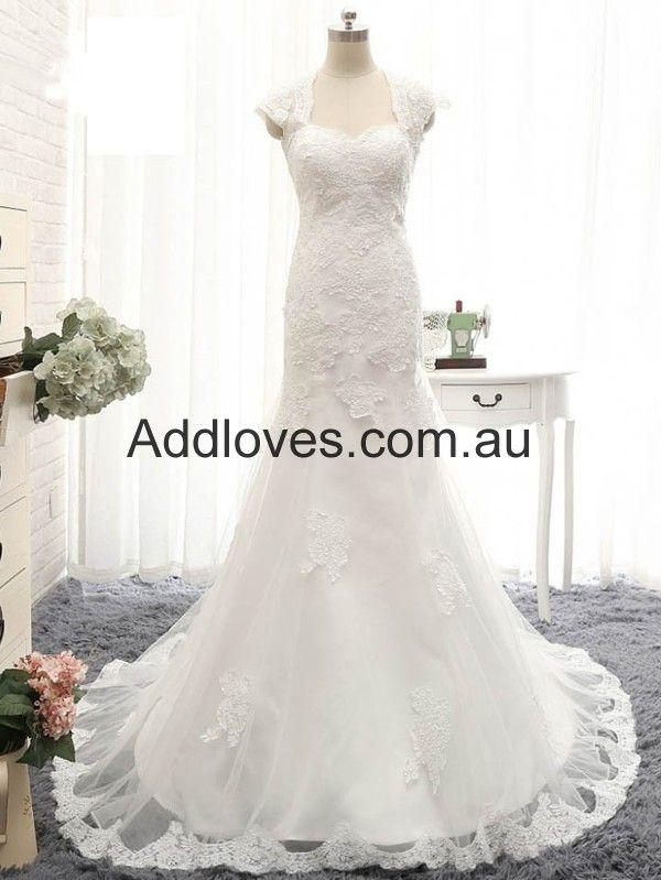 Mermaid/Trumpet Sweetheart Long Ivory Lace Wedding Dresses