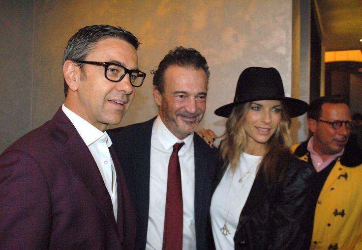 Martina Colombari e Alessandro Costacurta con Alessandro Calascibetta, direttore di Style Magazine