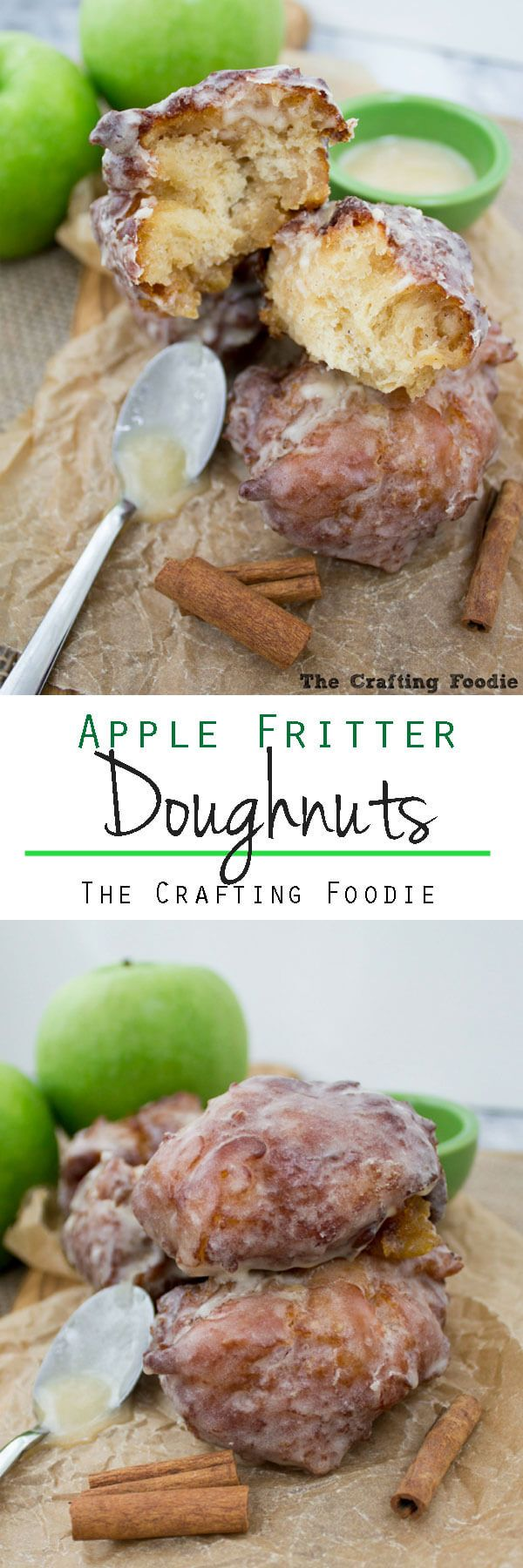 These Apple Fritters Doughnuts are crisp on the outside, light and fluffy on the inside and enrobed in a thick, vanilla bean glaze. They're made with apple cider and are packed with chopped apples giving them a delicious, fresh apple flavor.