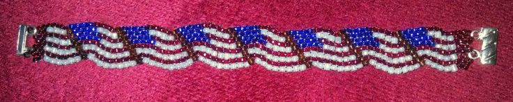 Beads, Baubles and Bracelets: Peyote Patriotic Flag Bracelet