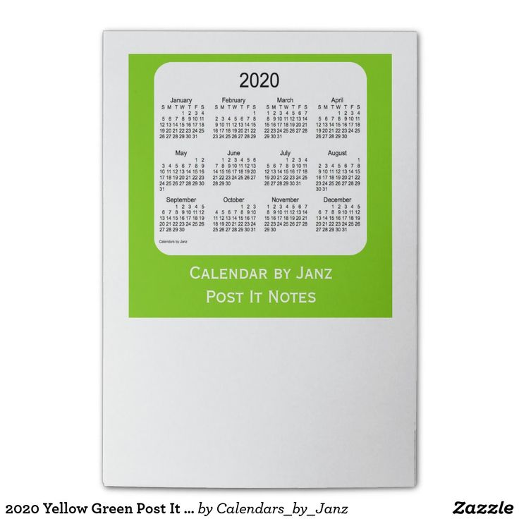 2020 Yellow Green Post It Note Calendars by Janz