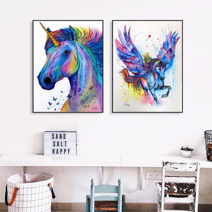 Kleurrijke Eenhoorn Aquarel Canvaskunst Schilderij Poster Muur Foto Voor Kamer Home Decoratieve Slaapkamer Decor No Frame