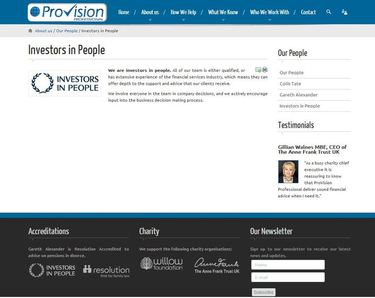 Financial advisors Provision Professional are Investors in People
