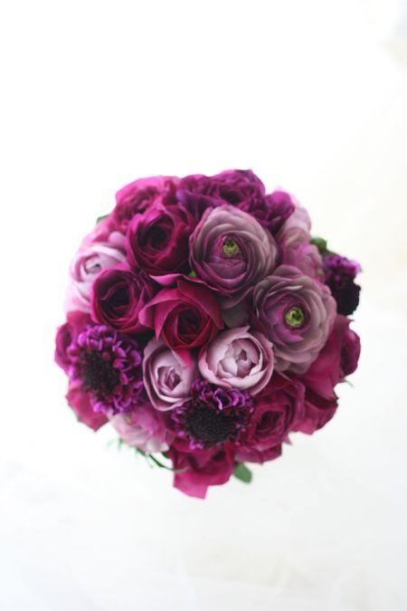 クラッチブーケ 紫 : 一会 ウエディングの花