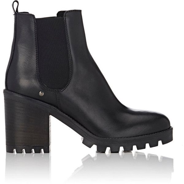 Barneys New York Women's Lug-Sole Leather Chelsea Boots found on Polyvore featuring shoes, boots, ankle booties, zapatos, black, ankle boots, black leather bootie, black ankle booties, short black boots and black high heel booties