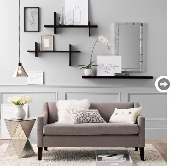 .Use of wall shelves in living room