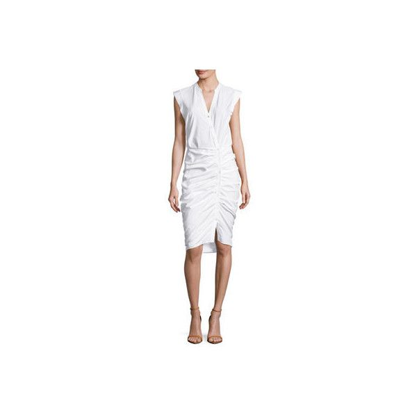 Veronica Beard Sleeveless Ruched Poplin Shirtdress ($450) ❤ liked on Polyvore featuring dresses, white, white sleeveless dress, sleeveless dress, collared shirt dress, sleeveless shirt dress and white shirt dress