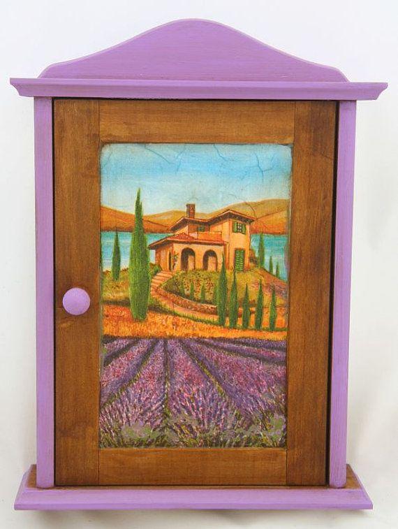 A wooden decoupaged key cabinet,lavender field,wooden key box,key cupboard,key holder,key holder wooden,key holder box,wooden cabinet
