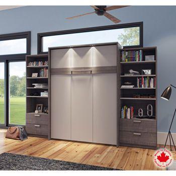 Bestar – Mobilier Cielo 3 pièces à grand lit escamotable gris