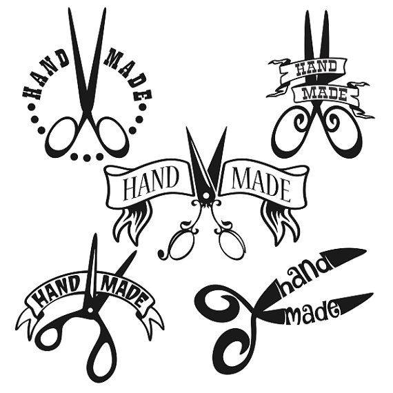 Hand Made Crafters Scissors Decal Cuttable Design by CuttableSVG